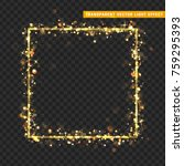 gold frame with glowing lights... | Shutterstock .eps vector #759295393