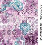 ethnic geometric motifs on... | Shutterstock . vector #759296779