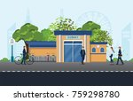 man 's bicycles parking near... | Shutterstock .eps vector #759298780