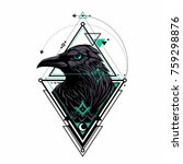 raven with triangle ornament | Shutterstock .eps vector #759298876