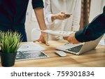 teamwork  young businesswoman... | Shutterstock . vector #759301834