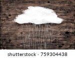 cloud over brown wood texture.... | Shutterstock . vector #759304438