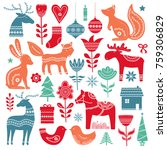christmas  hand drawn elements... | Shutterstock .eps vector #759306829