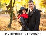 happy in lov beautiful... | Shutterstock . vector #759308149