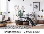 stool on geometric carpet and...   Shutterstock . vector #759311230