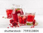 pomegranate cocktail with ice... | Shutterstock . vector #759313804