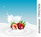 milk splash with strawberries | Shutterstock . vector #759317656