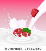 flowing milk splash with... | Shutterstock . vector #759317860