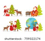 santa claus and big reindeer on ...   Shutterstock .eps vector #759322174