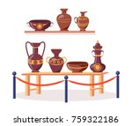 set of ancient greek pottery on ... | Shutterstock .eps vector #759322186