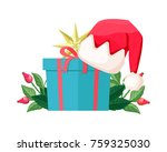gift box isolated with santa... | Shutterstock .eps vector #759325030
