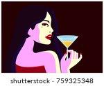 glamorous elegant fashion woman ... | Shutterstock .eps vector #759325348