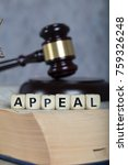 Small photo of Word APPEAL composed of wooden letters. Statue of Themis and judge's gavel in the background