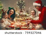 merry christmas  happy family... | Shutterstock . vector #759327046