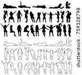 silhouette of children set | Shutterstock . vector #759328798