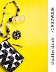 woman handbag with makeup and... | Shutterstock . vector #759329008