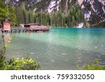 lake braies in dolomites with... | Shutterstock . vector #759332050