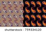 seamless vector paisley design... | Shutterstock .eps vector #759334120