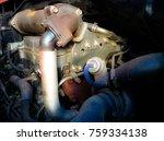 engine in a truck. spot focus | Shutterstock . vector #759334138