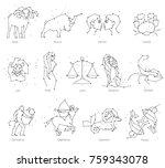 horoscope  all zodiac animals... | Shutterstock .eps vector #759343078