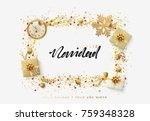 spanish text feliz navidad.... | Shutterstock .eps vector #759348328