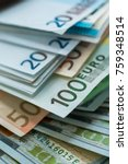 euro and usa dollar money... | Shutterstock . vector #759348514