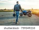 biker on sport motorcycle... | Shutterstock . vector #759349210