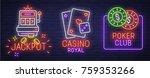 set neon logo  label  emblem.... | Shutterstock .eps vector #759353266