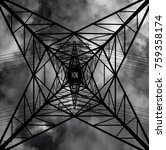 pylon from below with dark sky | Shutterstock . vector #759358174