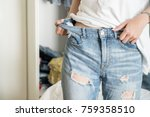 skinny woman body with loose... | Shutterstock . vector #759358510