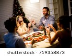 friends celebrating christmas... | Shutterstock . vector #759358873