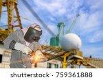 male worker wearing protective... | Shutterstock . vector #759361888