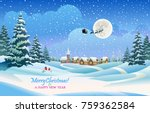 santa claus is flying in the... | Shutterstock .eps vector #759362584