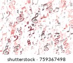 red musical notes flying...   Shutterstock .eps vector #759367498