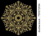 oriental vector round golden... | Shutterstock .eps vector #759372934