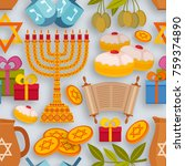 hanukkah seamless pattern with... | Shutterstock .eps vector #759374890