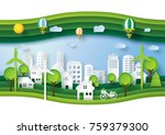 green eco friendly and save... | Shutterstock .eps vector #759379300