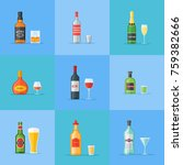 set of bottles and glasses with ... | Shutterstock .eps vector #759382666