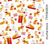 christmas pattern with dogs and ... | Shutterstock .eps vector #759383824