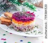 Stock photo traditional russian festive new year s salad herring under the fur coat square 759384520
