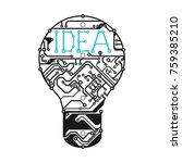 light bulb  in form of printed...   Shutterstock .eps vector #759385210