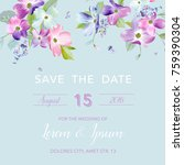 wedding invitation template... | Shutterstock .eps vector #759390304