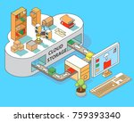 cloud storage vector flat 3d... | Shutterstock .eps vector #759393340