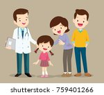 cute family visiting the doctor.... | Shutterstock .eps vector #759401266