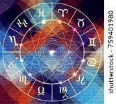 magic circle with zodiacs sign...   Shutterstock .eps vector #759401980