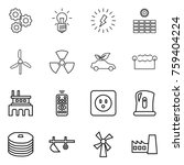 thin line icon set   gear  bulb ... | Shutterstock .eps vector #759404224