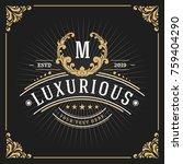 vintage luxury monogram banner... | Shutterstock .eps vector #759404290