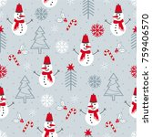christmas seamless pattern with ... | Shutterstock .eps vector #759406570