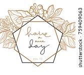 vector wedding invitation with... | Shutterstock .eps vector #759409063