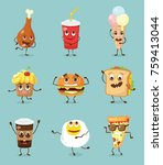 cartoon funny food characters... | Shutterstock .eps vector #759413044